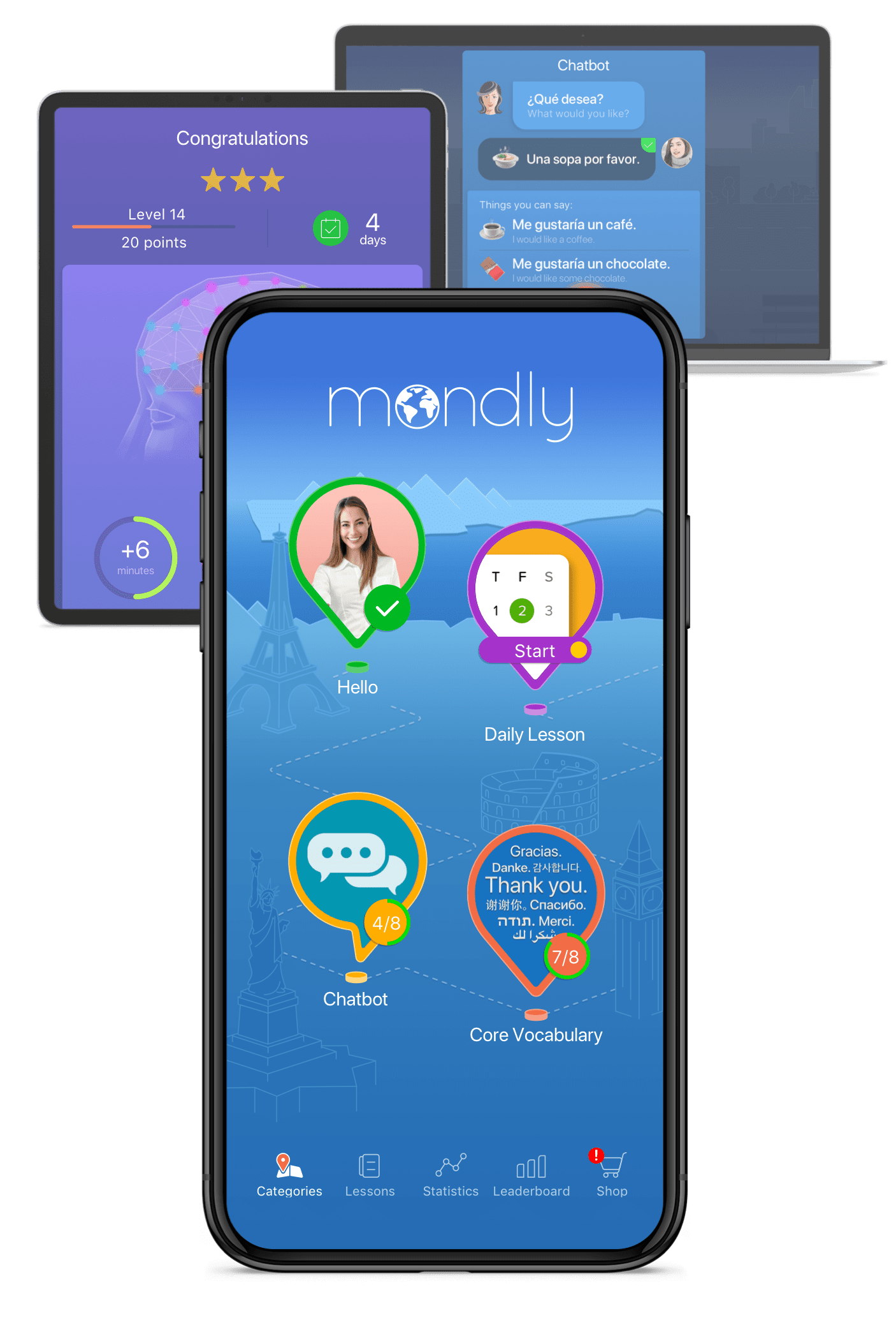 Приложение Mondly для изучения языков