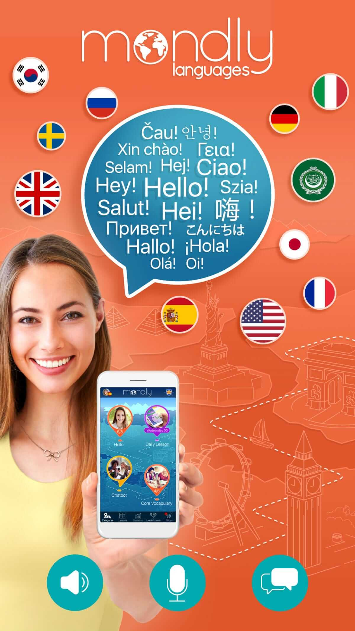 Image showing Mondly's language learning app